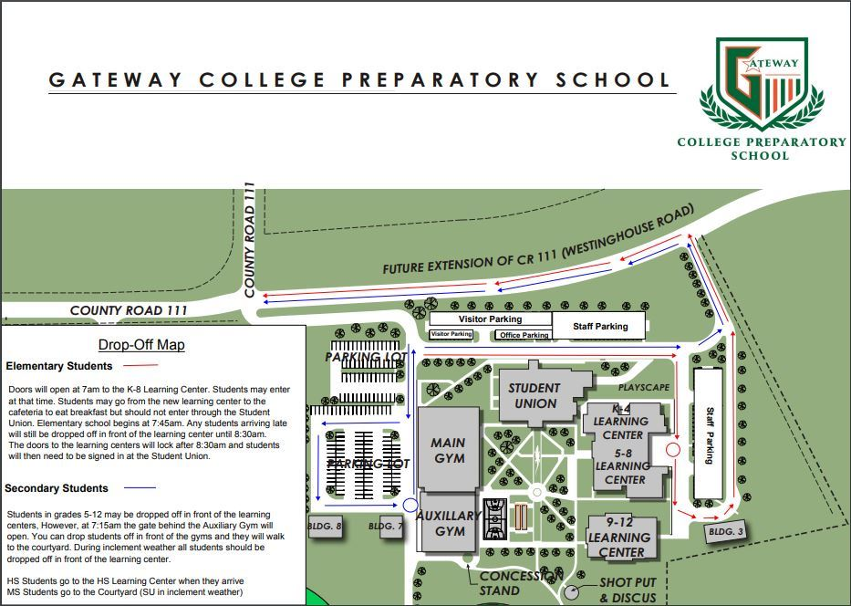 Example Image of Transportation Map for Gateway College Prep