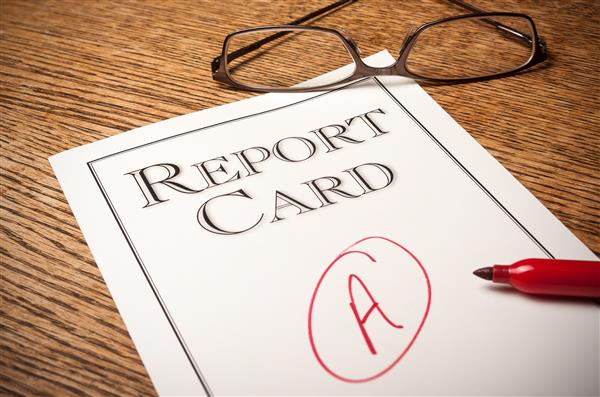 Report Card with A on it
