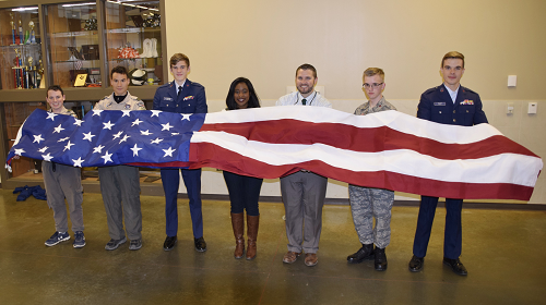 Donated U.S. Flag to Hang in New Gym