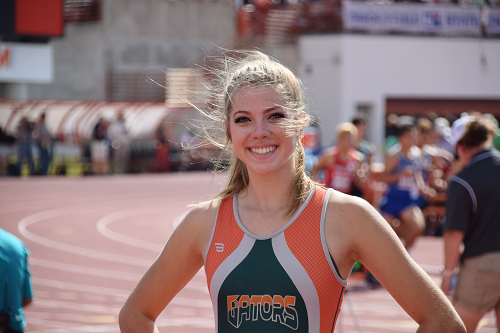 Madi Gawthorp smiles for the camera at the state meet.
