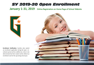 open enrollment icon of girl leaning on stack of books