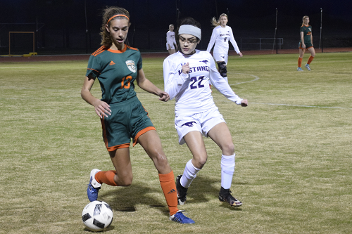 Ainsley Yarbrough kicks soccer ball from defender.