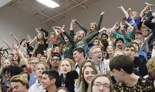 Group of students cheering in stands during pep rally.
