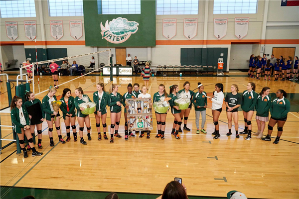Volleyball team honors seniors.