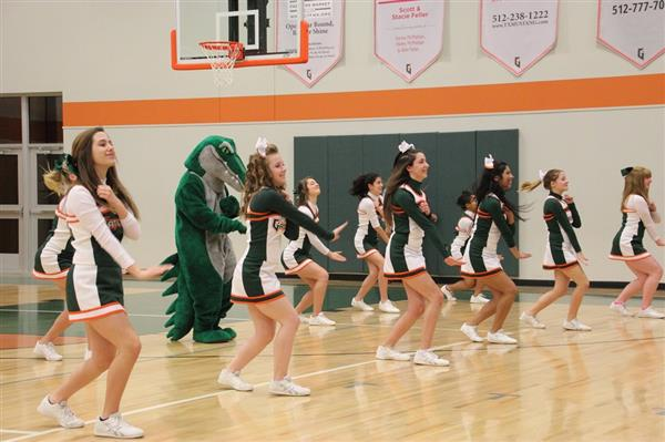 Cheerleaders performing at pep rally