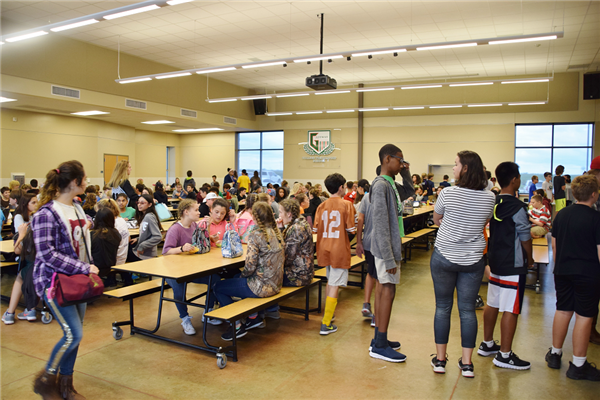 large group of students in cafeteria